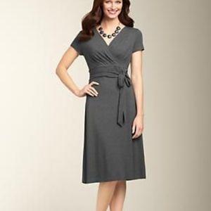 Talbots Black Surplice Neck Faux Wrap Dress